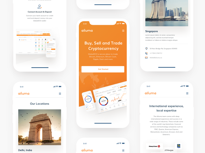 Alluma Mobile modern icongraphy blockchain trading design device mockup implementation clean white interface orange black colors asia market cryptocoins trading view ux ui cryptocurrency trading website alluma crypto exchange platform