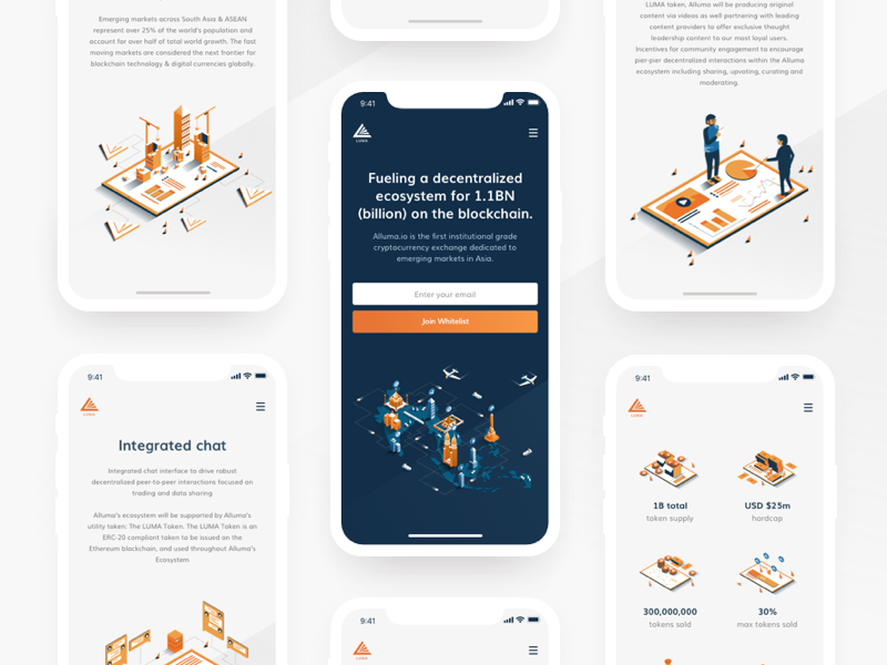 Luma Mobile mobile responsive solution isometric illustration animation alluma crypto exchange platform cryptocurrency trading website ui ux cryptocoins trading view asia market orange black colors clean dark interface blockchain trading design luma token landing page