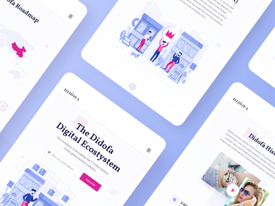 Didofa Tablet landing page design interface blockchain cryptocurrency purple blue colors fashion industry ico webpage clean visual minimal design ui ux flat illustration blockchain ecosystem responsive tablet solution