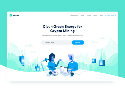 4NEW Hero Section crypto mining landing page user interface 4new ui ux clean visual minimal design green blue white colors clean minimal illustration hero section image website interface design user experience