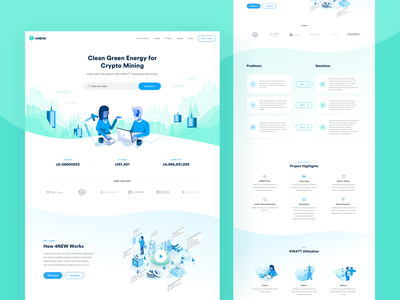 4NEW Landing Page user experience website redesign visual user interface design ui ux electricity ico page people green enviroment kwatt crypto coin green blue white colors crypto mining blockchain clean minimal illustrations 4new landing page design
