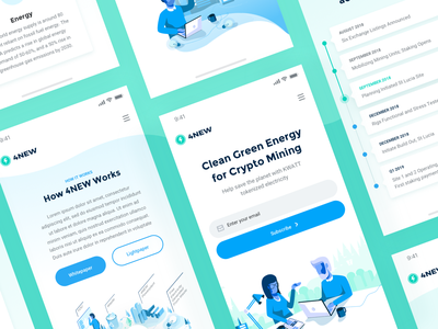 4NEW Mobile mobile responsive design website redesign visual user interface design user experience ui ux people green enviroment kwatt crypto coin green blue white colors electricity ico page crypto mining blockchain clean minimal illustrations 4new landing page responsive