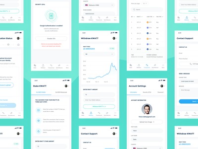 4NEW Application crypto mining application green environment blockchain staking cryptocoin price chart trading user interface user experience ui ux transaction list view mobile app interface chart view price 4new application design