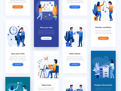 Mobile Examples get started illustration screens work office environment mobile onboarding explorations visual interface showcase user interface ui user experience ux minimal clean design illustration pack mobile examples app color combinations