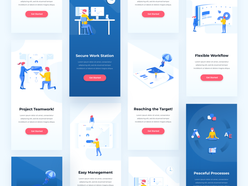 Mobile Examples blue red yellow character design visual interface showcase user interface ui user experience ux mobile onboarding explorations mobile examples app minimal clean design illustration pack get started illustration screens color combinations