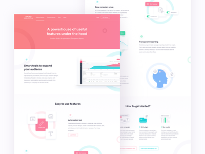 Match2one Features Page red blue green color usage landing page design uiux user interface experience color clean user interface mockup illustration composition m2o website redesign match2one features page marketing tool advertising platform
