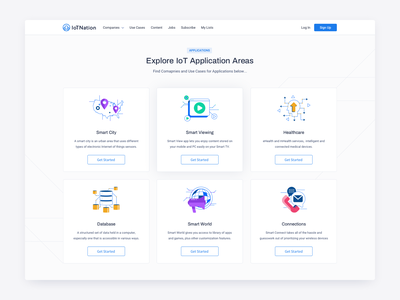 Iot Nation Applications icongraphy explainer iot nation illustration visual identity smart applications iot internet of things dashboard list design website platform ui ux visual page layout design user interface experience clean minimal layout blue white colors