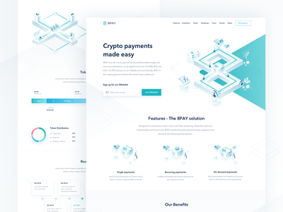 8pay Landing Page digital currencies transactions blockchain protocol integration white green color clean isometric illustration roadmap chart team section application dashboard showcase digital payment platform uiux user interface experience website design 8pay landing page crypto payments