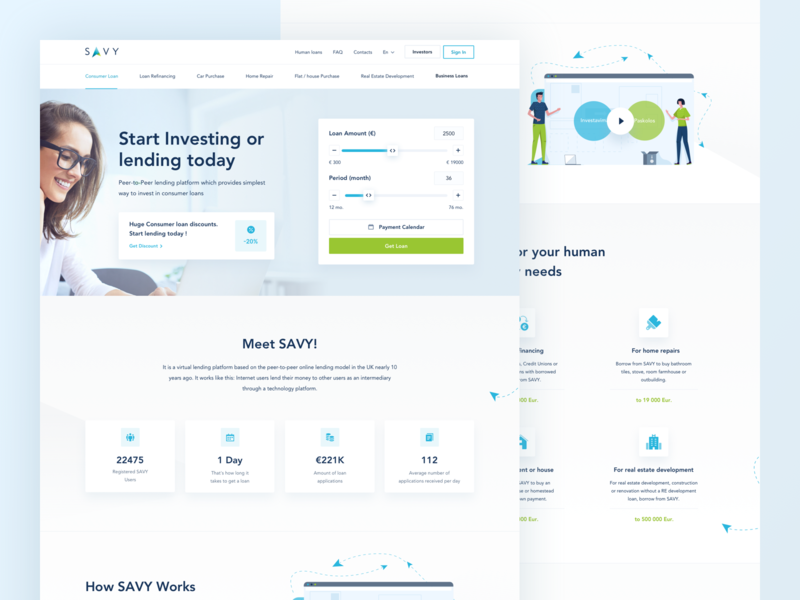 Savy Landing Page page structure design user interface experience illustration icon work blue green color ui ux clean white minimal interface website redesign payment calculator