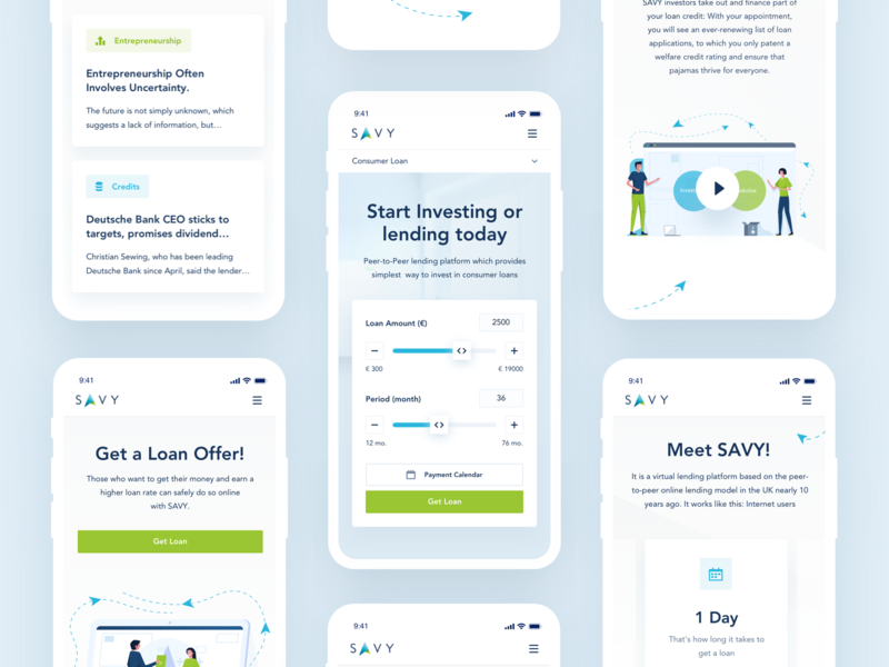 SAVY Mobile mobile responsive loan platform payment calculator website redesign clean white minimal interface ui ux blue green color illustration icon work user interface experience