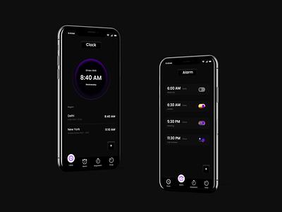 Clock | Alarm mobile app design mobile ui black uiux designer alarm clock uidesign ui design
