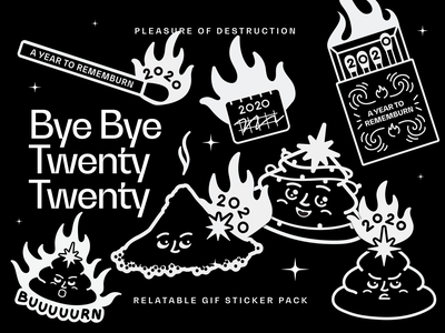 Relatable 2020 Holiday Stickers giphy instagram animation holidays holidays 2020 christmas new year black and white shit poop ashes matches destruction burn fire 2020 gif stickers