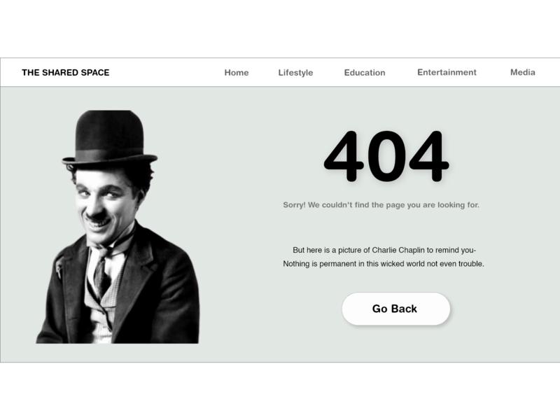 404 Error #DailyUI #008 website design dailyui100 dailyuichallenge thesharedspace charlie chaplin 404 error page 404 error 404 page 404 uiuxdesigner uiux dailyui008 dailyui