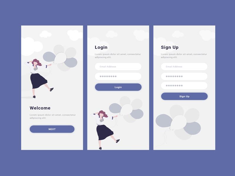 App Screen Example signup login flat design design android application mobile app design illustration android app app design