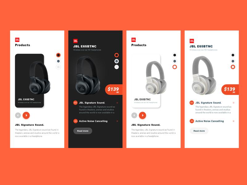 Product App Design designconcept jbl headphone simple logo illustration android app application ios android app app design mobile app design