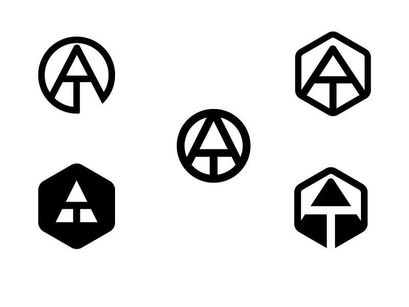 At Logo concept flat design web icon typography branding vector design illustration logo design logo