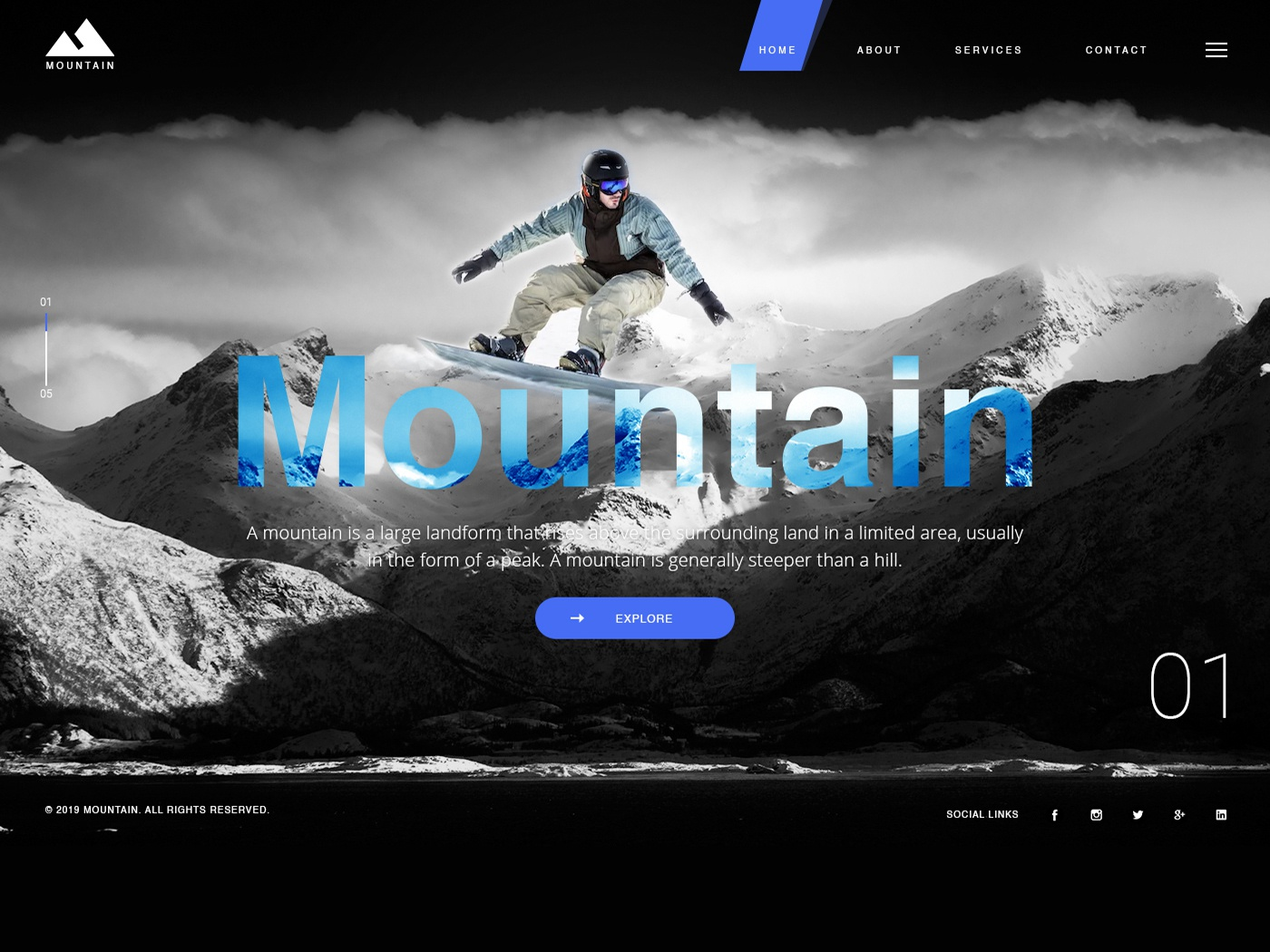 Mountain Web illustration ui design mockup webs template design website flat design