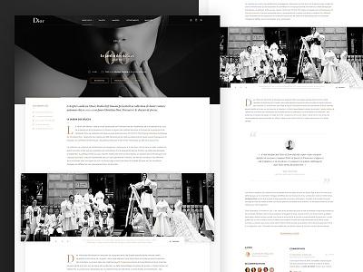 Dior - Blog redesign Concept website ux ui minimal luxe interface dior clean bw brand blog