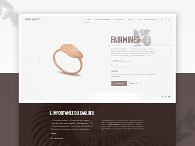 Paulette à Bicyclette - Shopping Product page shopping interface website ui product jewellery elegant ecommerce design commerce clean brand