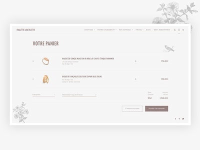 Paulette à Bicyclette - Shopping Cart page shopping elegant clean ui design website page product brand jewellery commerce ecommerce