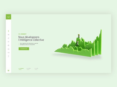 Homepage infographics elegant clean dataviz boost consulting data 3d green colors corporate