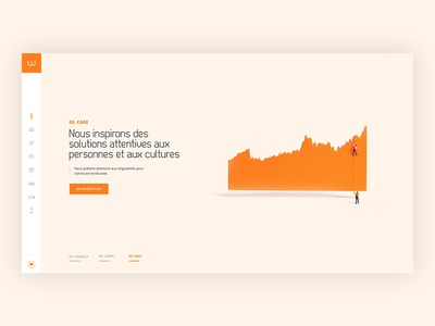 Homepage orange pastel infographics elegant dataviz data corporate consulting colors clean 3d
