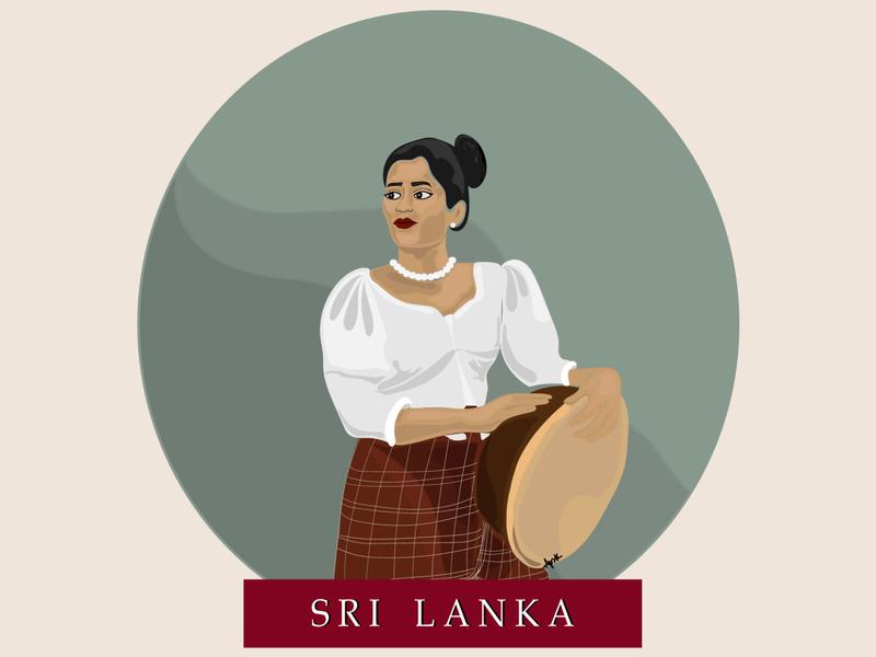 Vintage Poster Series: Rabana (Drum) art ceylon drummer woman poster art poster vintage digital art sri lanka digital illustration illustration