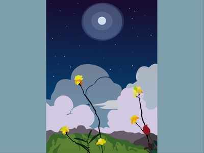"""flowers in the night"" illustrator moonlight graphics night art flowers vector design colorful minimal illustration"