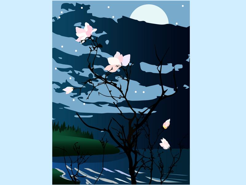 """magnolia"" minimal moonlight magnolia art illustrator graphics vector colorful illustration"