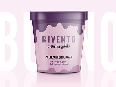 Ice-cream tub design prunes chocolate gelato ice cream concept graphic design branding illustrator packaging package design