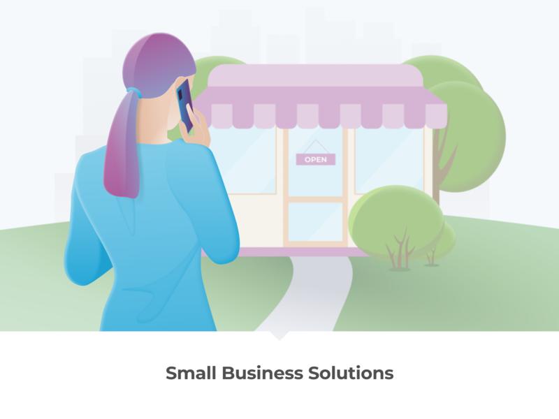 Small business / Store illustration telephony small business business lady corporate web graphics illustration figma