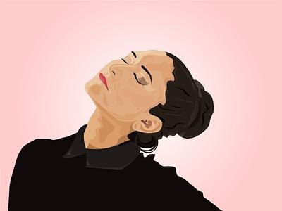 Dancer portrait illustration portrait design portrait art portrait draw minimal vector flat illustration design