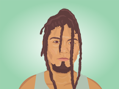 Dreadlocks Guy portrait design portrait art portrait draw minimal vector illustration flat design