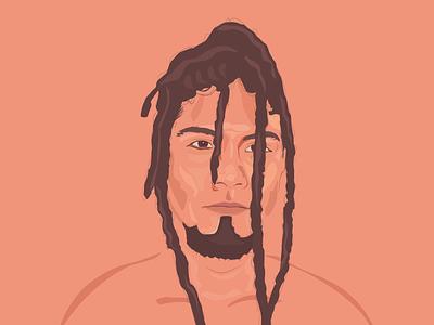Dreadlock Guy drawing vector portrait illustration portrait art portrait draw minimal illustration flat design