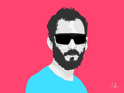 glasses illustration portrait art vector draw color portrait man portrait man men flat portrait portrait t-shirt sunglasses black hair hair beard glasses