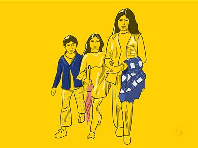 Bogotá draw vector design flat illustration illustrationfromphoto portraitdraw yellow black drawfromphoto photo umbrella color women walking