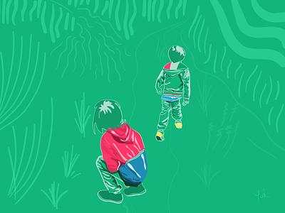 walking on colombia trees lines kids illustration naturelife boys nature plant green walking kids minimal flat illustration