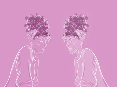 Book cover afro hair purple hair happy girl crying girl purple drawing black woman face portrait happy woman sadwoman flat illustration