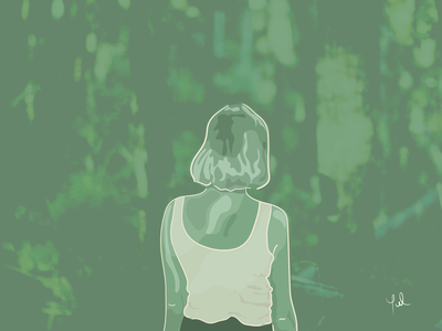 Ine Güemes - Serie Artistas drawingart womandraw flatillo line drawing forest nature green woman drawings beautiful drawing naturelover portraitartist