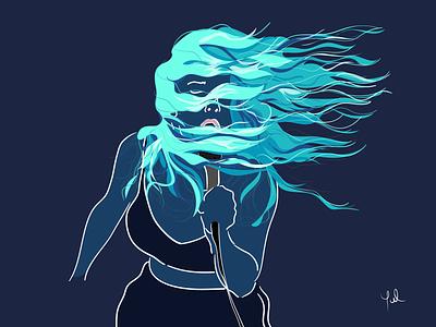 Marina Fages - Serie Artistas hair blue concert artist art singer woman portrait portrait art flat