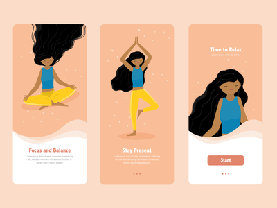 Yoga App girl calm flat illustration relax focus balance yoga studio yoga pose yoga app meditation app meditation flat walkthrough yoga