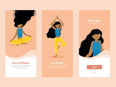 Yoga App girl calm flat illustration relax focus balance yoga studio yoga pose yoga app meditation app meditation flat walkthrough yoga