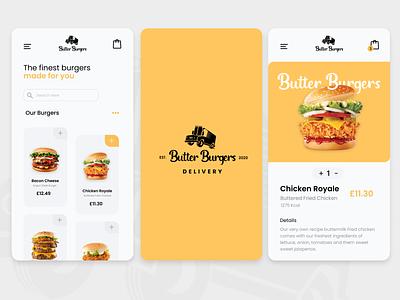 Butter Burgers uxdesign takeout foodtruck branding design uiux deliveryapp delivery food app instagram ui takeaway burgers food uidesign