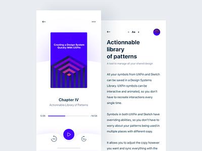 Ebook App app player reader book read ux mobile design ui