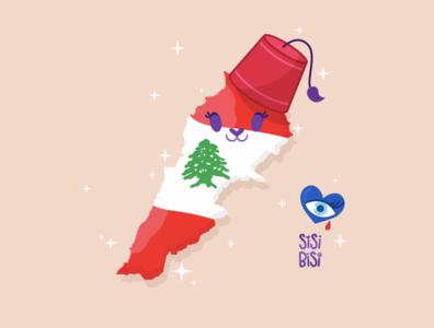 Lebanon sparkle cute hat tarboosh fez evil eye evil cat flag levant liban lebanese lebanon