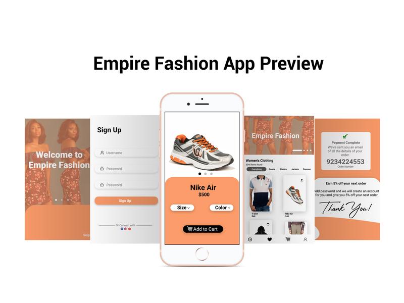 Empire Fashion UI app view