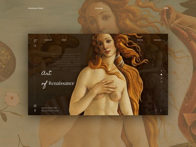 Renaissance concept. Venus. Boticcelli website mainpage main uidesign uiux uxui concept ux venus renaissance interaction minimal web design ui daily creativity art