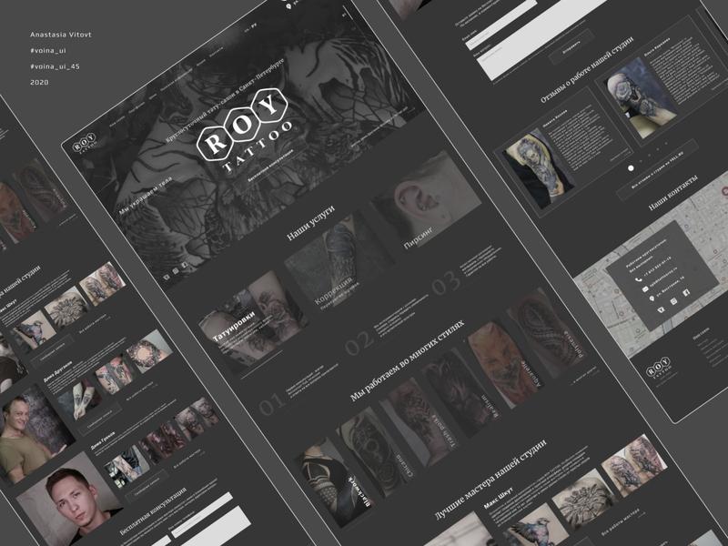 Tattoo studio redesign concept dark design landing mainpage dark theme dark ui interface uxdesign ui design studio tattoo uxui uiux uidesign website web design ux interaction concept ui daily