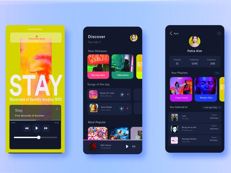 mobile music app uxdesign uxui colorful music app music player album art music uidesign uiuxdesigner cards ui vector uiux mobile ui ui ux minimal design