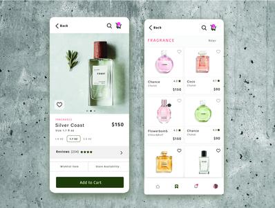 Cosmetic mobile concept clean marketplace cosmentic cart design typogaphy uxdesign uiuxdesign uiuxdesigner uidesign mobile ui fragrance pefume cards ui uiux ux ui